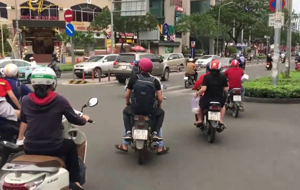 Motorcycle Taxis in Ho Chi Minh City . Vietnam